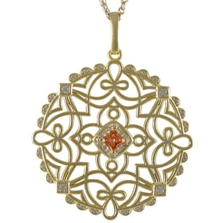 Luxiro Gold Finish Champagne Cubic Zirconia Celtic Circle Pendant Necklace