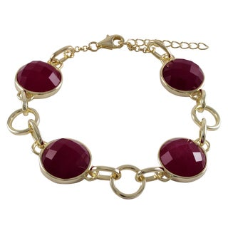 Luxiro Sterling Silver Gold Finish Semi-precious Gemstone Bracelet