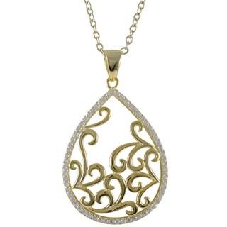 Luxiro Sterling Silver Gold Finish Cubic Zirconia Filigree Teardrop Pendant Necklace
