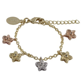 Link to Luxiro Tri-color Gold Finish Crystals Flower Charm Bracelet Similar Items in Children's Jewelry