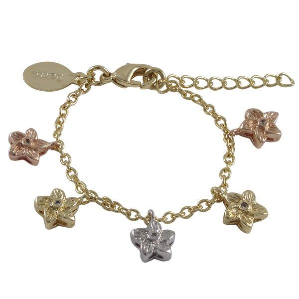 Luxiro Tri-color Gold Finish Crystals Flower Charm Bracelet. Opens flyout.