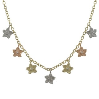 Luxiro Tri-color Gold Finish Crystals Flower Charm Necklace