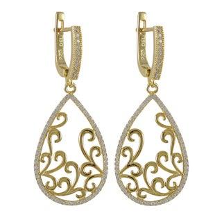 Luxiro Sterling Silver Gold Finish Cubic Zirconia Filigree Teardrop Dangle Earrings