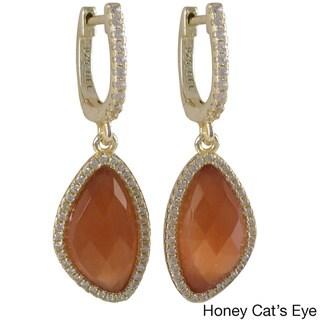 Gold Finish Sterling Silver Gemstone and Cubic Zirconia Teardrop Dangle Earrings