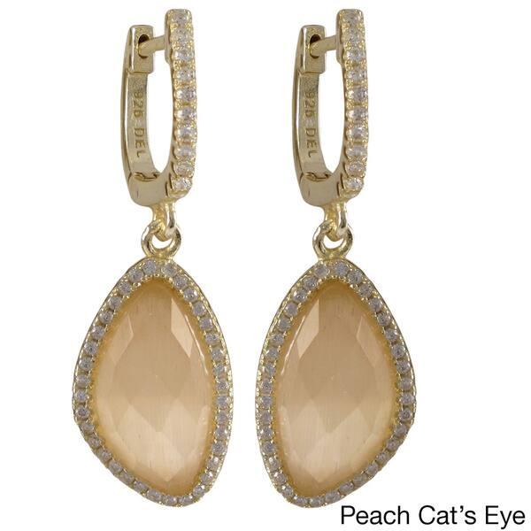 Gold Finish Sterling Silver Smoky Quartz Teardrop Dangle Earrings