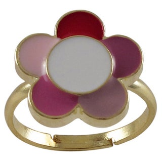 Gold Finish Children's Multi-color Enamel Flower Adjustable Ring (2 options available)