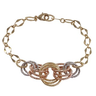 Luxiro Gold Finish Tri-color Linked Circles Bracelet
