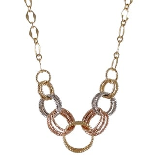 Luxiro Gold Finish Tri-color Linked Circles Necklace