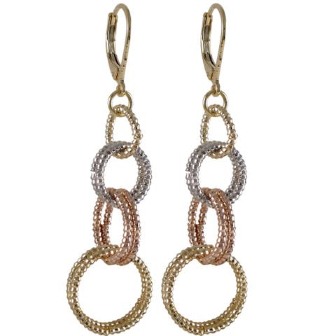 Luxiro Gold Finish Tri-color Linked Circles Dangle Earrings - Silver
