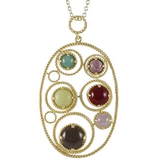 Luxiro Sterling Silver Gold Finish Multi-color Gemstone Oval Pendant Necklace