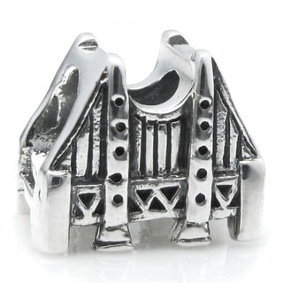 Queenberry Sterling Silver San Francisco Golden Gate Bridge European Bead Charm