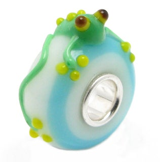 Queenberry Sterling Silver/ Glass Green Frog European Bead Charm