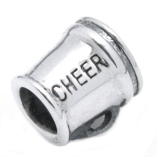 Queenberry Sterling Silver Cheerleader Megaphone European Bead Charm