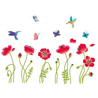 Radiant Poppies Flowers Peel & Stick Kids Room/Nursery Wall Decal for Boys & Girls