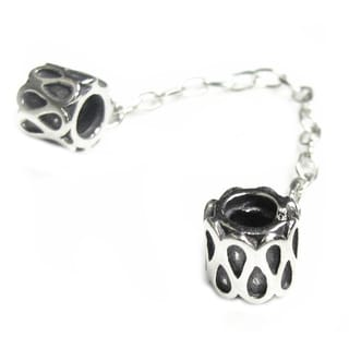 Queenberry Sterling Silver Teardrop Flower Safety Chain European Bead Charm