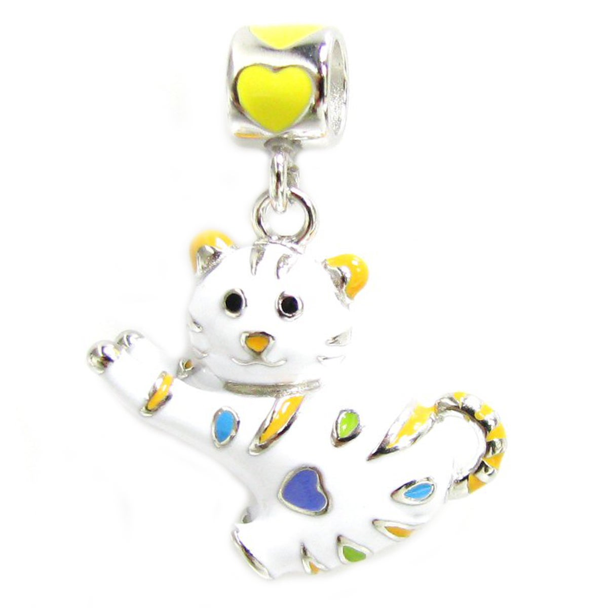Queenberry Sterling Silver White Cat with Heart Enamel Da...