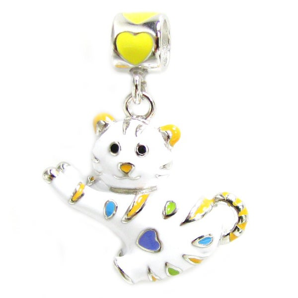 99c7c8211 Shop Queenberry Sterling Silver White Cat with Heart Enamel Dangle European Bead  Charm - On Sale - Free Shipping Today - Overstock - 10195371