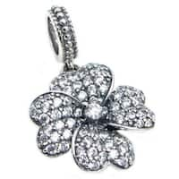 Queenberry Sterling Silver Cubic Zirconia 4-leaf Clover Dangle European Bead Charm