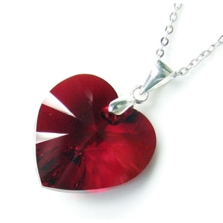 Queenberry Austrian Crystal Elements Crystal Heart Siam Red Pendant with Sterling Silver Chain Necklace