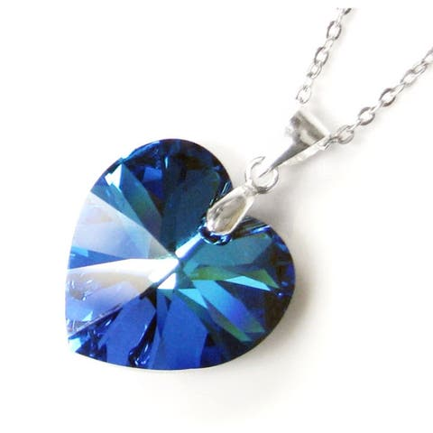 Queenberry Austrian Crystal Elements Crystal Heart Bermuda Blue Pendant with Sterling Silver Chain N