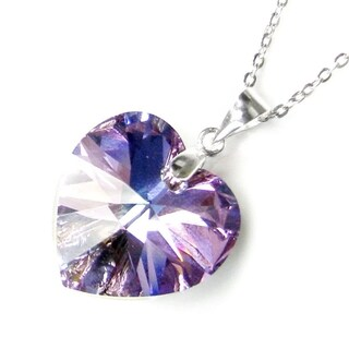 Queenberry Austrian Crystal Elements Crystal Heart Vitrail Light Purple Pendant with Sterling Silver Chain
