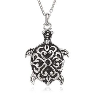 La Preciosa Sterling Silver Oxidized Turtle Pendant