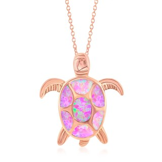 La Preciosa Sterling Silver/Rose Gold/Gold Plated Opal Turtle Pendant (Option: Pink - Pink - Rose)
