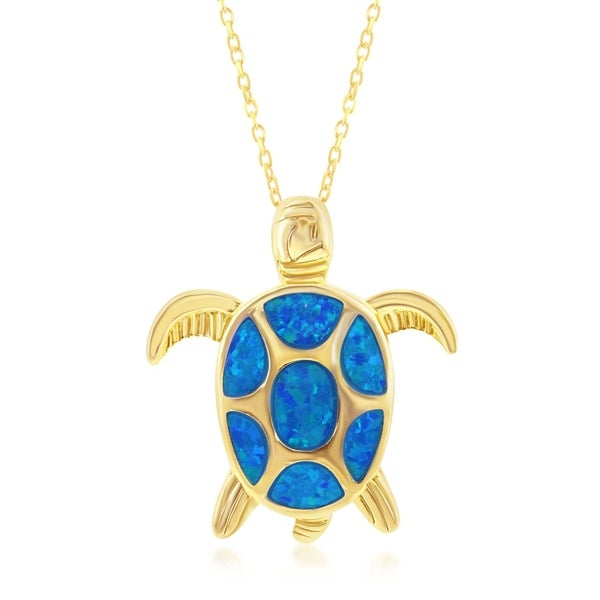 Jewels Obsession Silver 3D Turtle Pendant 14K Yellow Gold-plated 925 Silver 3D Turtle Pendant
