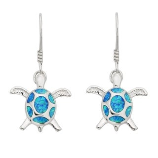 La Preciosa Sterling Silver Blue Opal Turtle Dangle Earrings