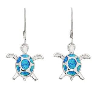 La Preciosa Sterling Silver/ Rose Gold/ Gold Plated Blue Opal Turtle Dangle Earrings