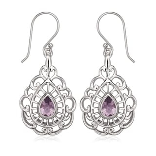 La Preciosa Sterling Sivler Gemstone Teardrop Dangle Earrings
