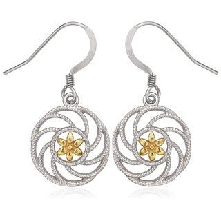 La Preciosa Sterling Silver Two-Tone Flower Circle Earrings