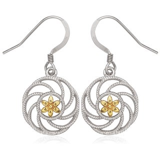 La Preciosa Sterling Silver Two-Tone Flower Circle Earrings