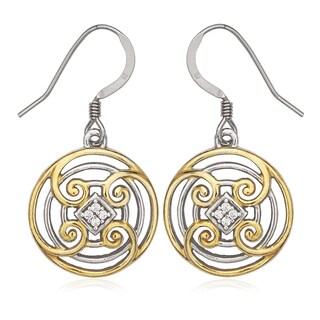 La Preciosa Sterling Silver Cubic Zirconia Designed Circle Dangle Earrings