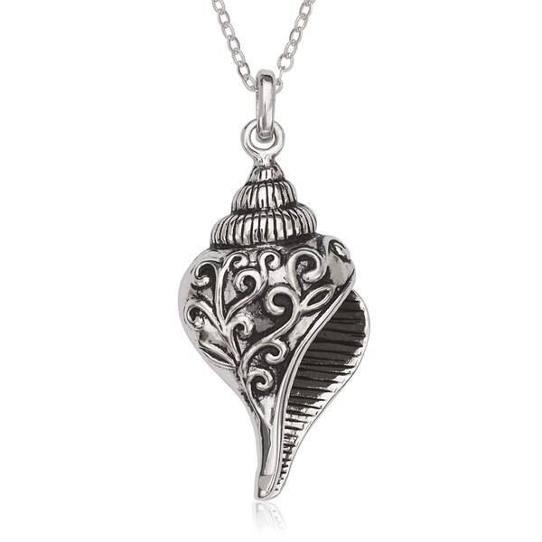 La Preciosa Sterling Silver Oxidized Seashell Pendant