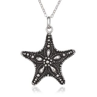 La Preciosa Sterling Silver Oxidized Starfish Pendant