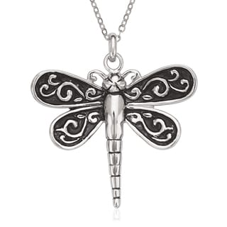 La Preciosa Sterling Silver Oxidized Dragonfly Pendant