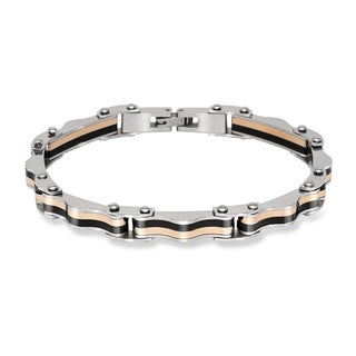 La Preciosa Stainless Steel Men's Rose-Gold and Black Link Bracelet