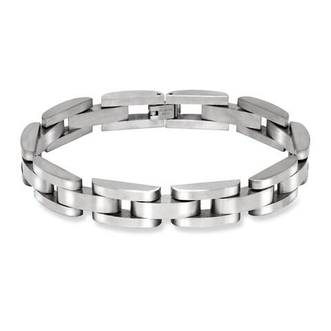 La Preciosa Stainless Steel Men's Matte Link Bracelet