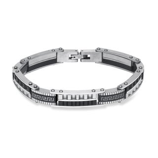 La Preciosa Stainless Steel Men's Two-tone Greek Key Design Link Bracelet
