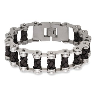 La Preciosa Stainless Steel Men's and Leather Bar Link Bracelet