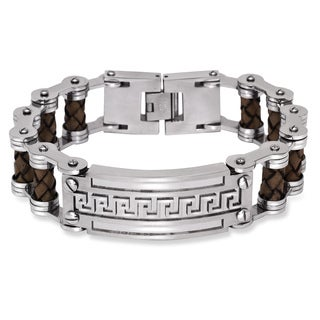 La Preciosa Stainless Steel Men's Leather and Greek Key Bar Design Bracelet
