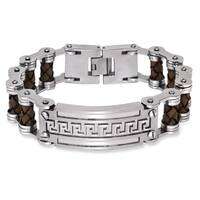 La Preciosa Stainless Steel Men's Leather and Greek Key Bar Design Bracelet