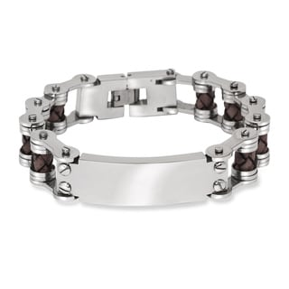 Link to La Preciosa Stainless Steel Men's Leather and Bar Design Bracelet Similar Items in Men's Jewelry