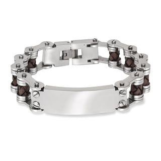 La Preciosa Stainless Steel Men's Leather and Bar Design Bracelet