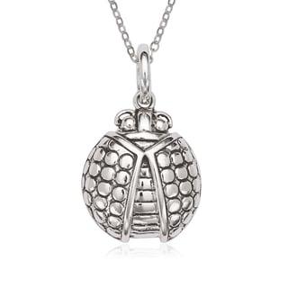 La Preciosa Sterling Silver Oxidized Ladybug Pendant