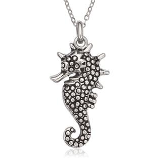 La Preciosa Sterling Silver Oxidized Seahorse Pendant