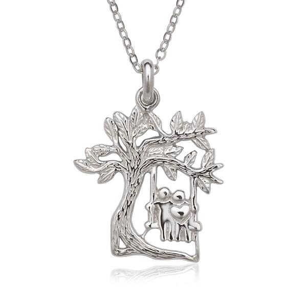 La Preciosa Sterling Silver Tree with Couple on a Swing Pendant