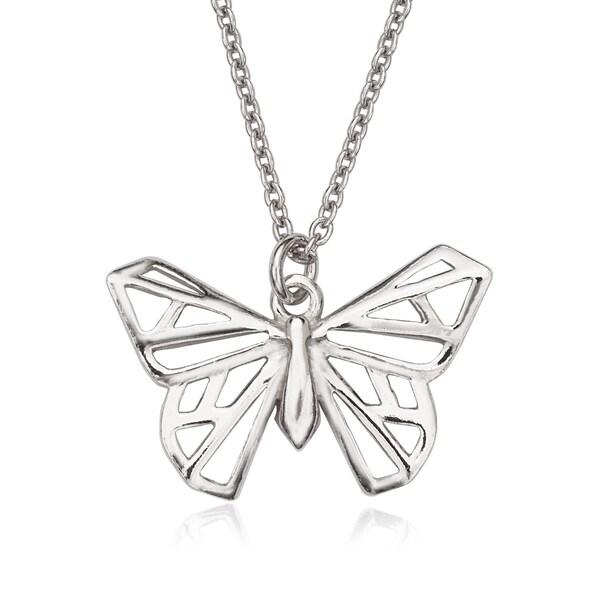 La Preciosa Sterling Silver Origami Butterfly Necklace