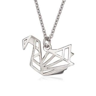 La Preciosa Sterling Silver Origami Swan Necklace